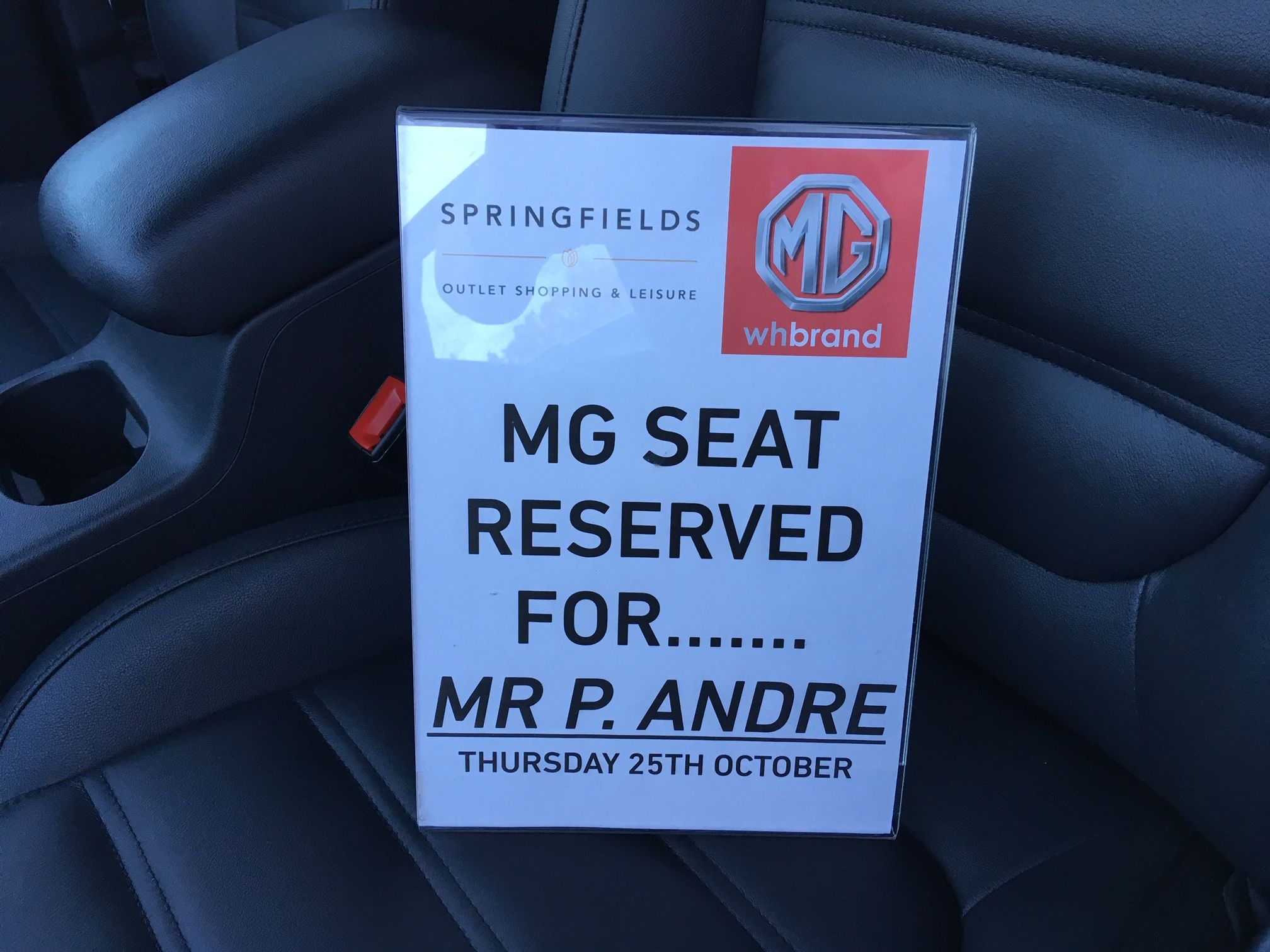 MG Seat Reserved For Mr P Andre!